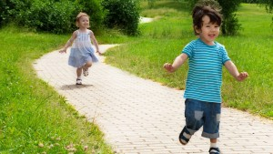 toddlers running